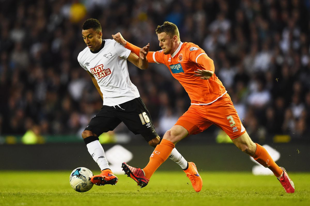 Niall Maher in action while on loan to Blackpool last season.