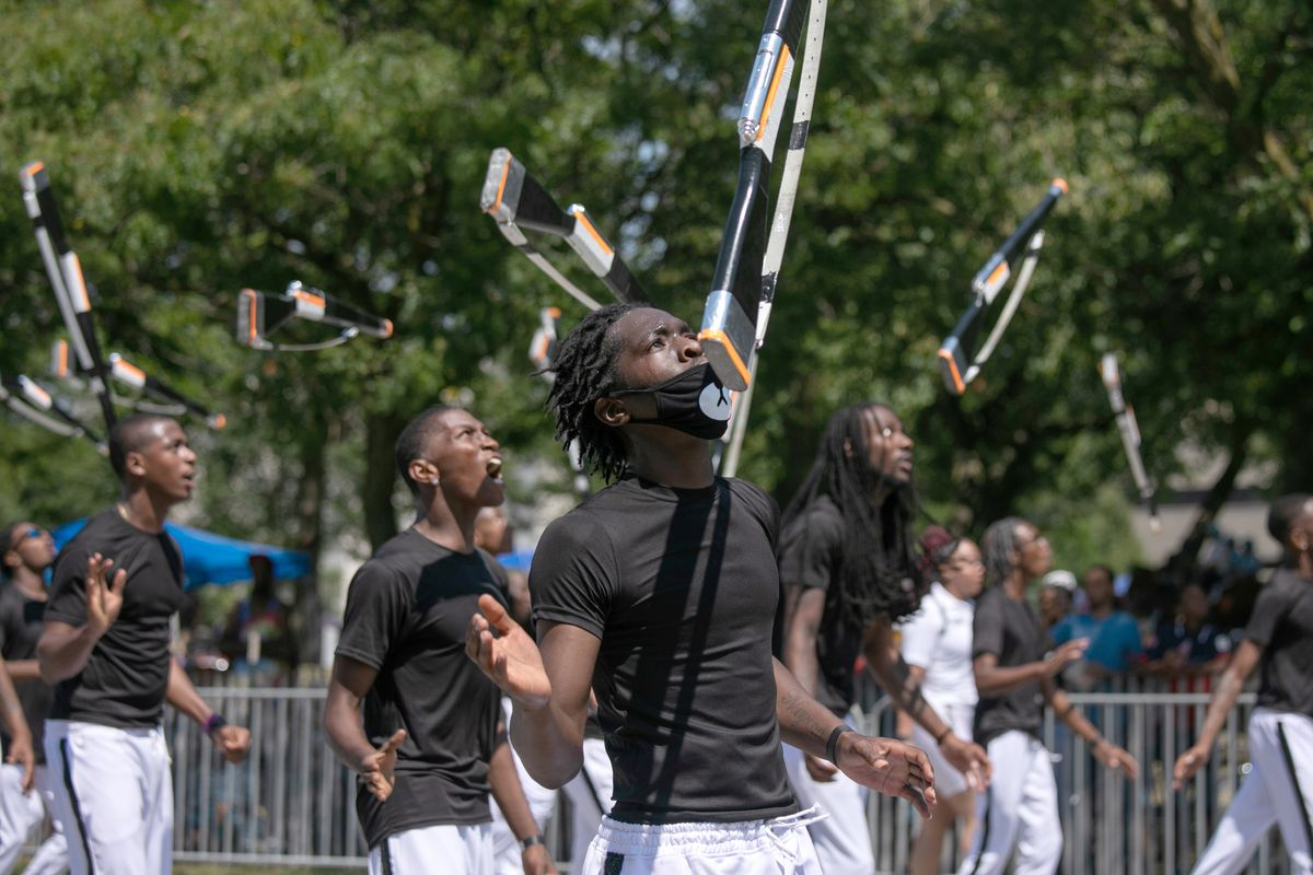 The South Shore Drill Team performs during the 90th Bud Billiken Parade in Bronzeville on August 10, 2019.