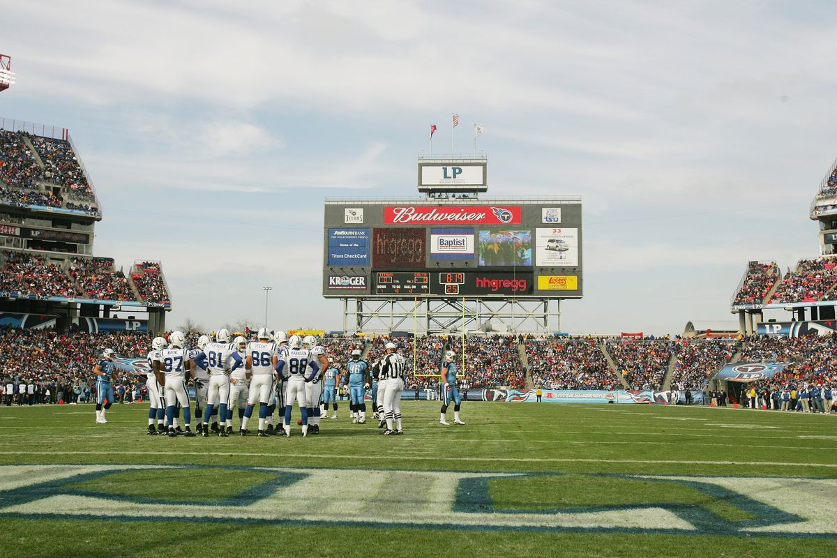 Indianapolis Colts players huddle against the Tennessee Titans on December 1, 2006 at LP Field in Nashville, Tennessee. The Titans defeated the Colts 20-17.