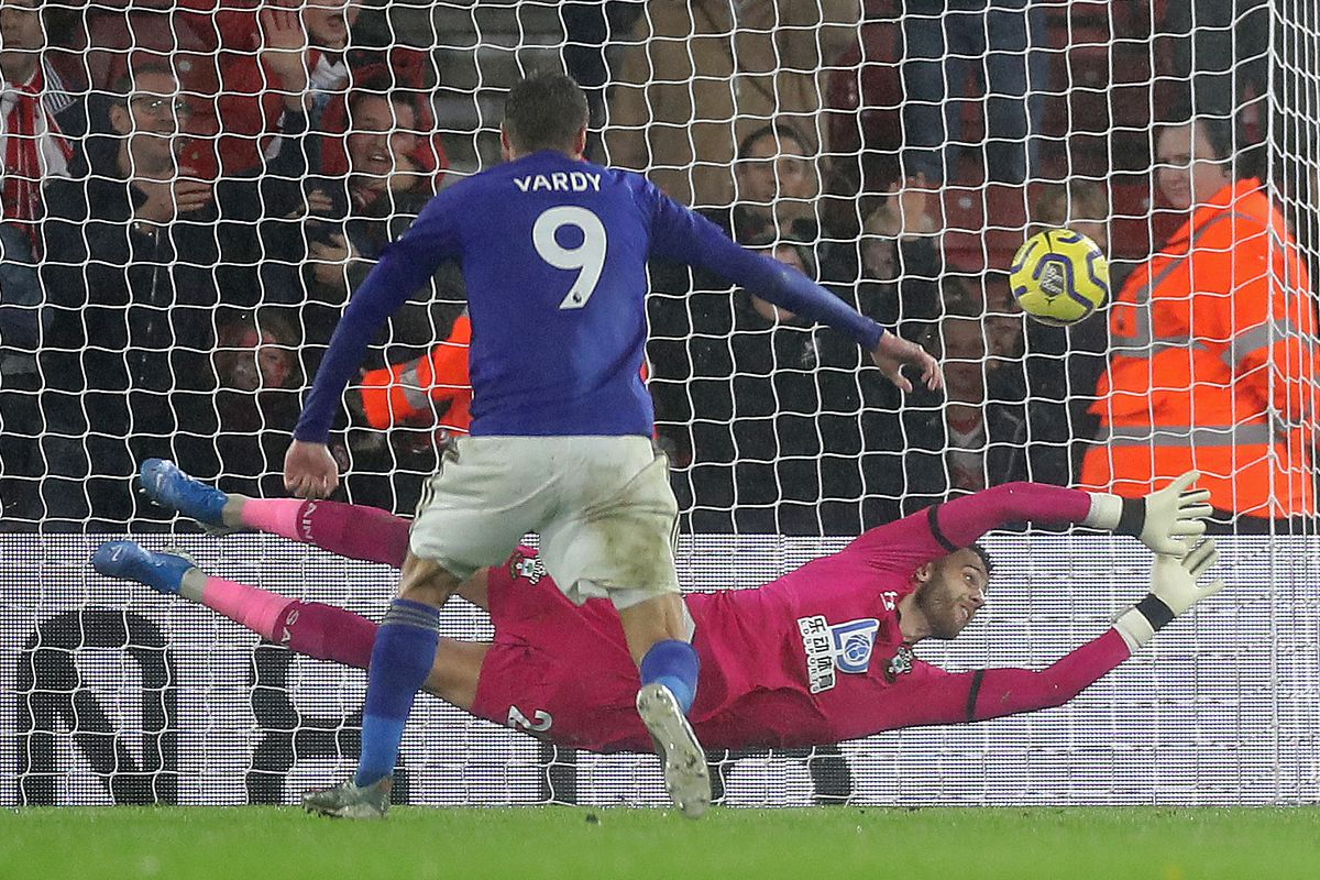 Leicester City's Jamie Vary scores the Foxes' 9th goal in their 0-9 win against Southampton in the Premier League