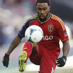 Real's Robbie Findley looks to control the ball as Real Salt Lake and Sporting KC play Saturday, Dec. 7, 2013 in MLS Cup action.
