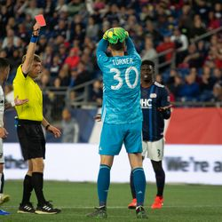 FOXBOROUGH, MA - MAY 25: New England Revolution goalkeeper Matt Turner #30 receives a red card for denial of an obvious goal scoring opportunity during the second half at Gillette Stadium on May 25, 2019 in Foxborough, Massachusetts. (Photo by J. Alexander Dolan - The Bent Musket)