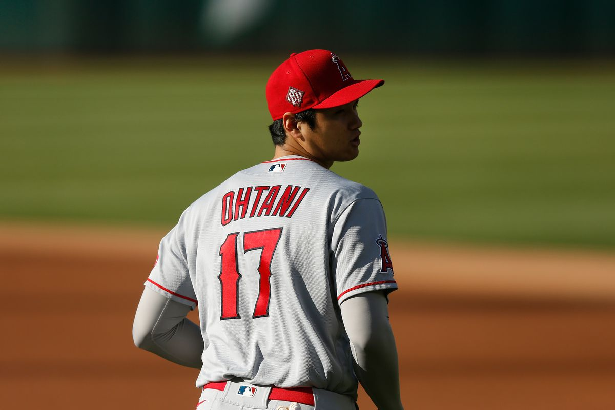 Shohei Ohtani #17 of the Los Angeles Angels jogs on the field before the game against the Oakland Athletics at RingCentral Coliseum on May 27, 2021 in Oakland, California.