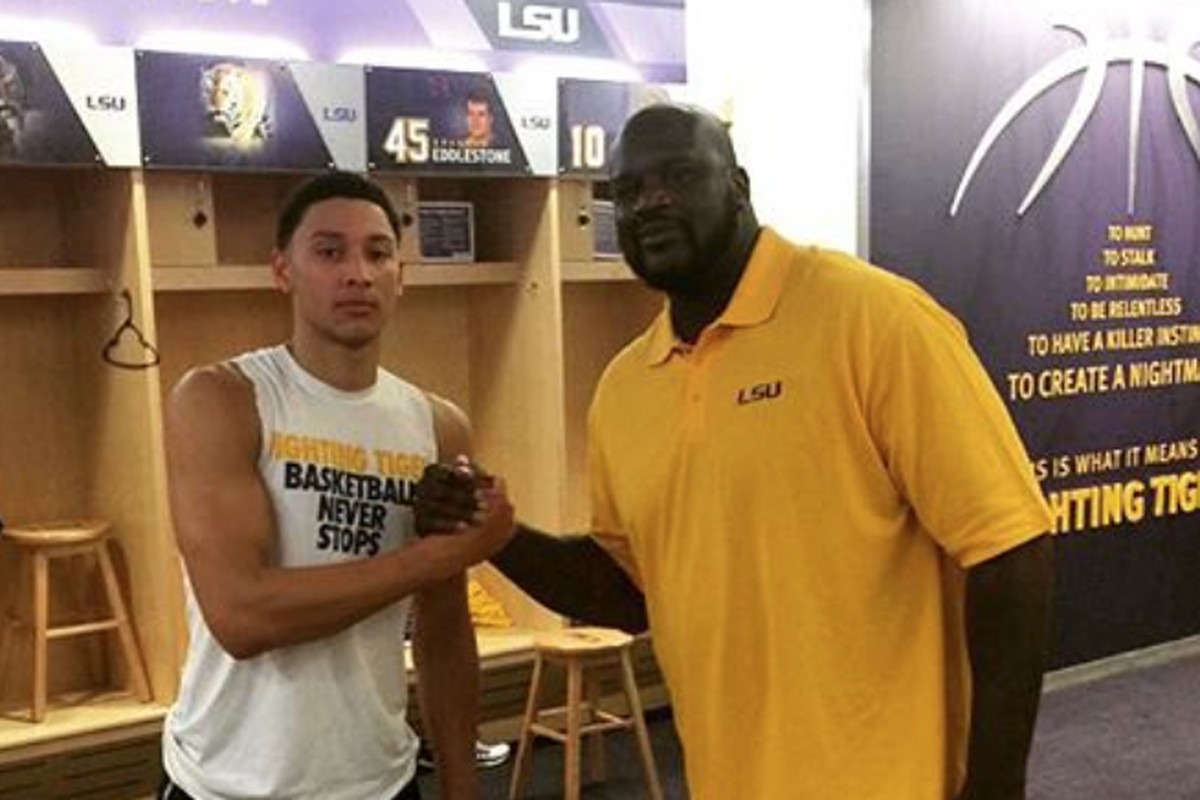 LSU's Ben Simmons with LSU Great Shaquille O'Neal