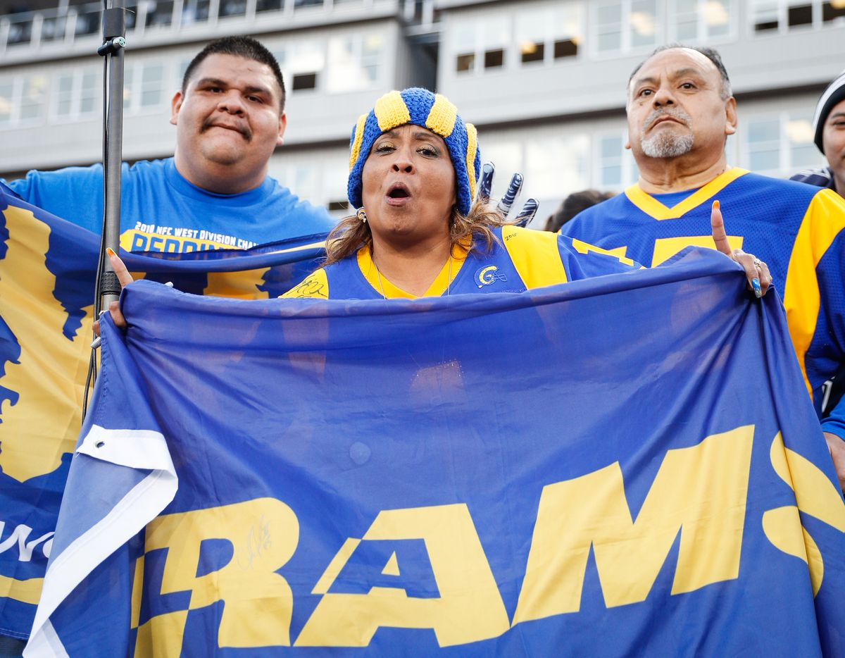 Los Angeles Rams fans ahead of the the NFC Divisional Round playoff game between the Los Angeles Rams and the Dallas Cowboys, Jan. 12, 2019.