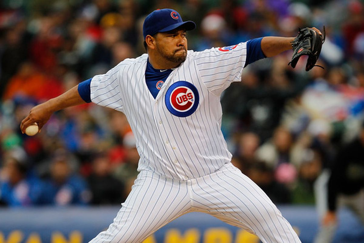 CHICAGO - MAY 12: Starting pitcher Carlos Silva #52 of the Chicago Cubs delivers the ball against the Florida Marlins at Wrigley Field on May 12, 2010 in Chicago, Illinois. (Photo by Jonathan Daniel/Getty Images)