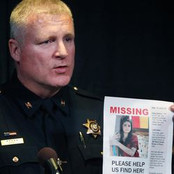 Provo Police Chief John King speaks at a press conference in efforts to help recover missing person Elizabeth (Elena) Salgado in Sandy Friday, April 24, 2015.