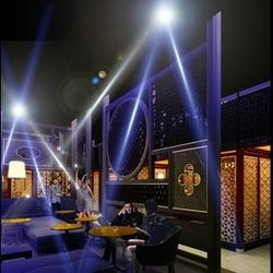 A rendering of the dining room at Hakkasan.