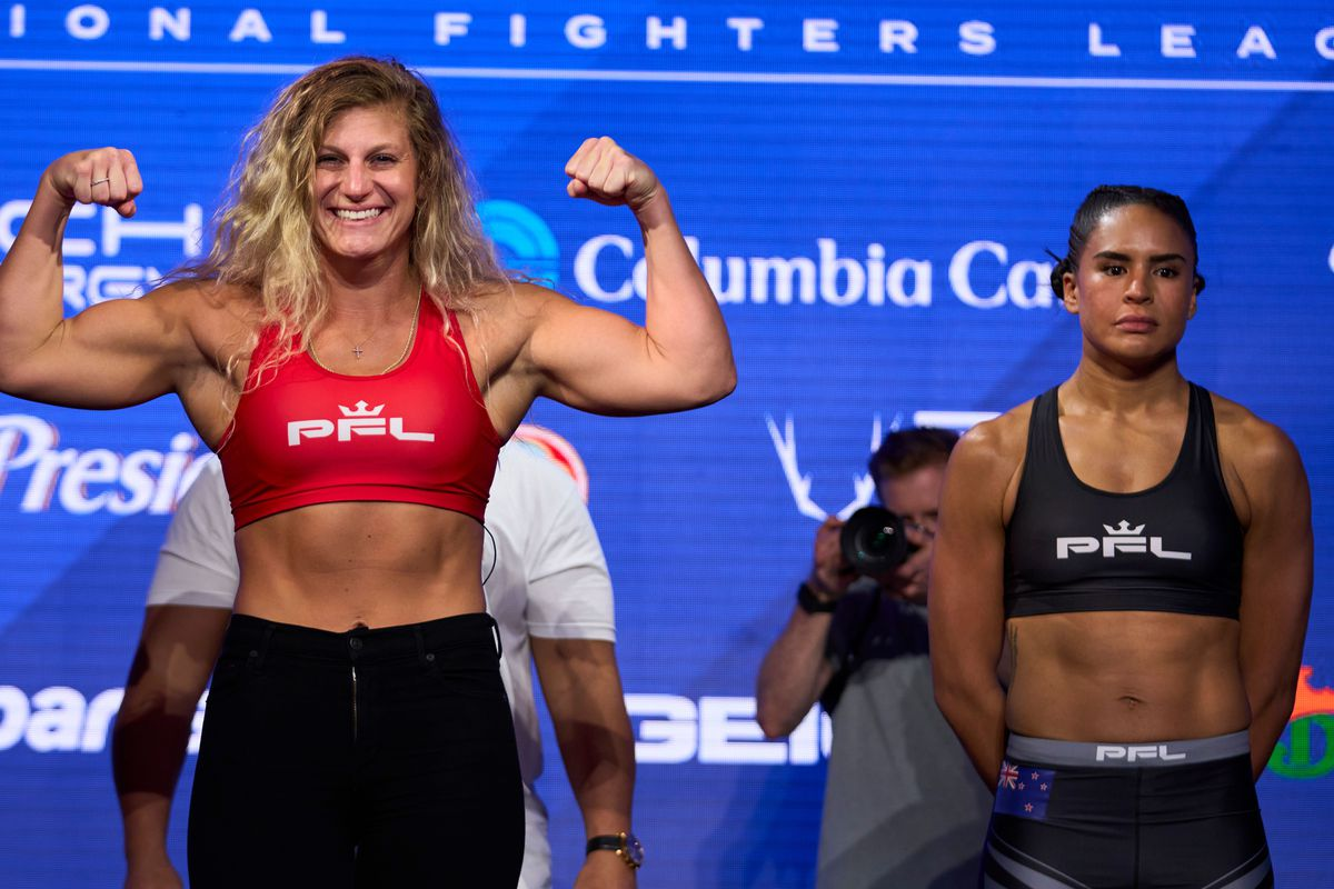 Kayla Harrison and Genah Fabian at the PFL weigh-ins.