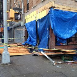 """Damage to the forthcoming David's Tea in Park Slope, via <a href=""""http://www.fuckedinparkslope.com/home/sandy-aftermath-open-post.html"""">Fucked in Park Slope</a>."""