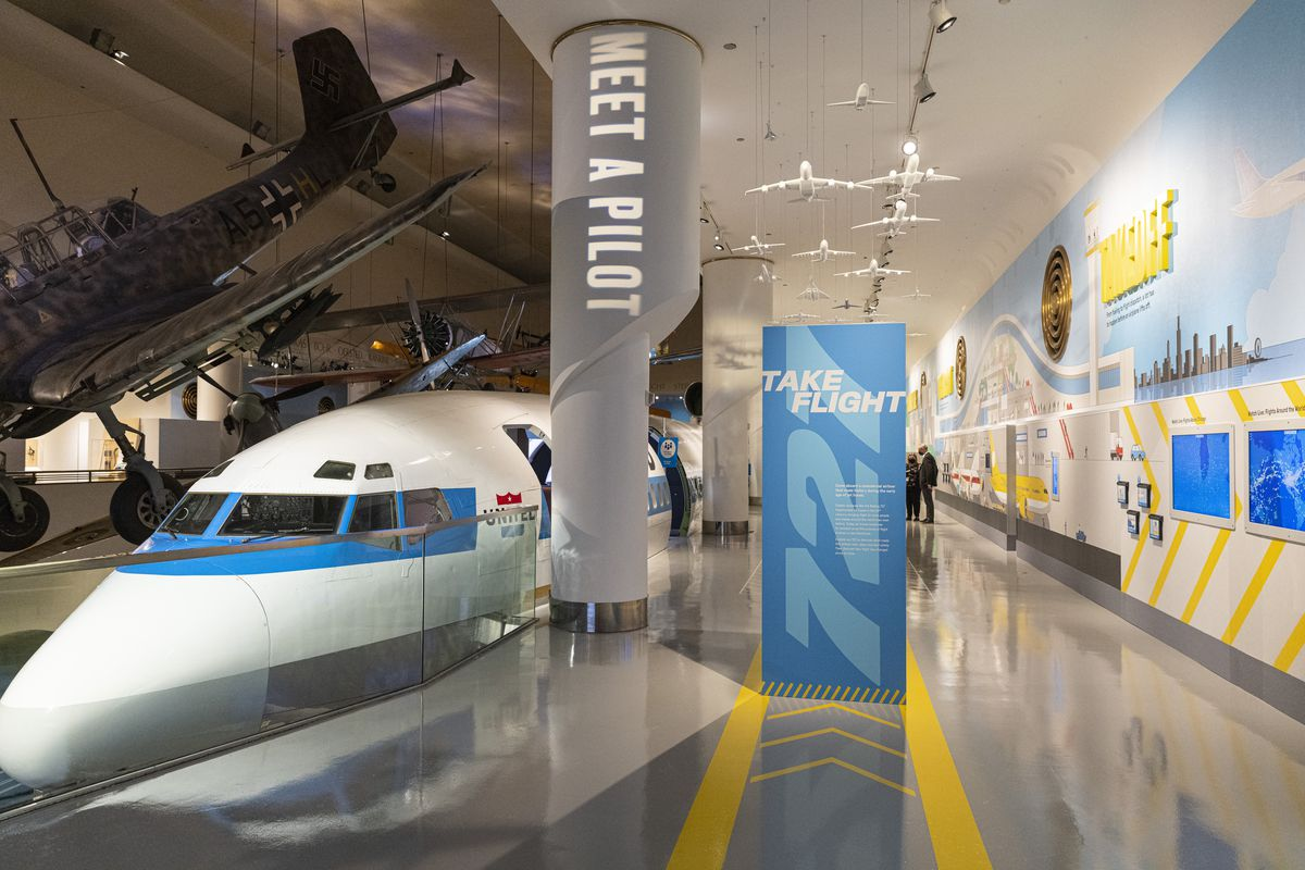 Informational and interactive panels at the newly updated Boeing 727 exhibit at the Museum of Science and Industry.