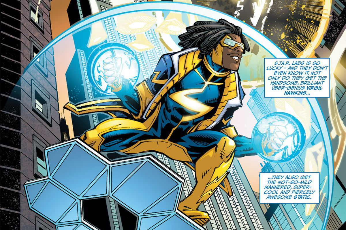 Static/Vergil Hawkins flies through a city in a yellow and blue costume, on top of a hexagonal metal glider, in Static Shock #1, DC Comics (2011).