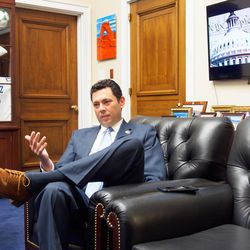 Rep. Jason Chaffetz, R-Utah, discusses policy and politics in his office while waiting for a Republican Conference meeting to sort out a key vote on health care,  Thursday, March 23.