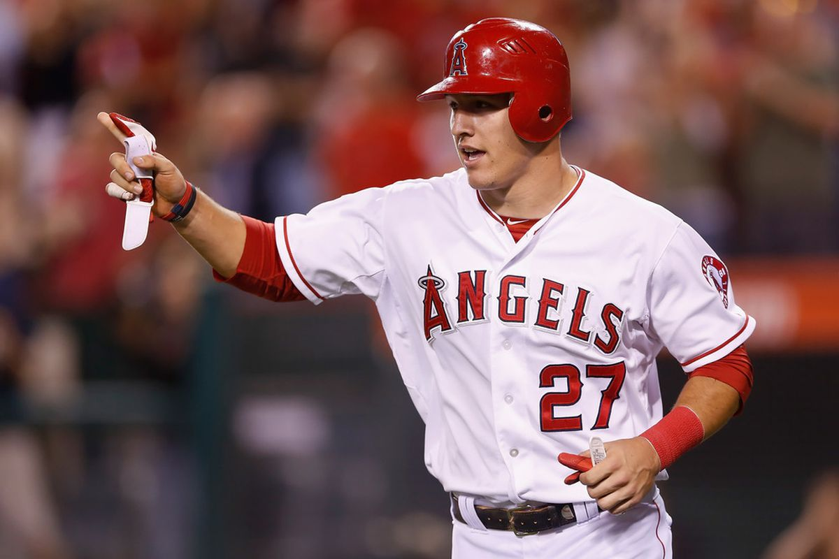 Rookie Mike Trout and the Los Angeles Angels visit Yankee Stadium this weekend. (Photo by Jeff Gross/Getty Images)