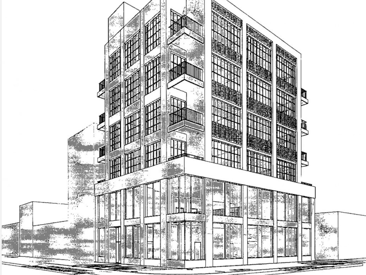 A black and white perspective drawing of a boxy two-story base topped by four more traditional looking brick warehouse-inspired floors. The are large metal framed windows and corner balconies.