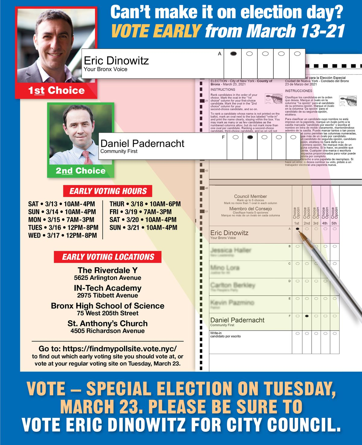 An independent group paid for an ad showing voters how to use ranked choice voting to support Eric Dinowitz and Daniel Padernacht.