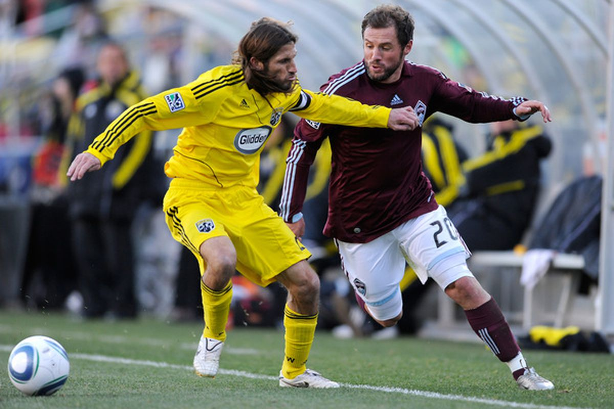 COLUMBUS OH - NOVEMBER 6:  Frankie Hejduk #2  of the Columbus Crew and Jamie Smith #20 of the Colorado Rapids battle for control of the ball on November 6 2010 at Crew Stadium in Columbus Ohio.  (Photo by Jamie Sabau/Getty Images)