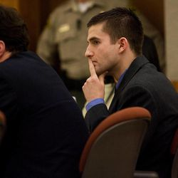 Martin Bond listens to testimony on the first day of his trial in 4th District Court in American Fork Wednesday, Jan. 16, 2013. Bond is accused of killing former BYU professor Kay Mortensen in November 2009.