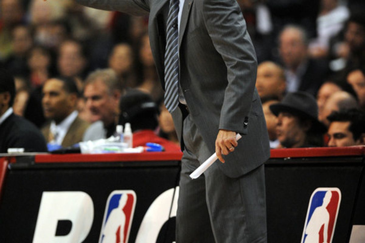 Mar 30, 2012; Los Angeles, CA, USA; Los Angeles Clippers head coach Vinny Del Negro during the game against the Portland Trail Blazers during the first quarter at the Staples Center. Mandatory Credit: Kelvin Kuo-US PRESSWIRE