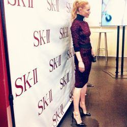 I head to an <b>SK-II</b> event, featuring spokesperson Kate Bosworth. She's hosting a question and answer session at the SK-II pop-up store in SoHo. There are skin imaging machines there that can analyze the age of your skin. Bosworth does not try out th