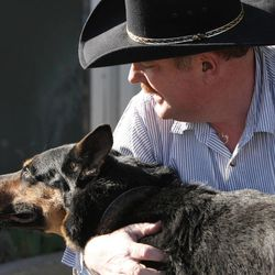 John Logie is reunited with his retired K9 partner Balto at the Salt International Airport in Salt Lake City Saturday, March 15, 2014. In May 2010 Logie was in Afghanistan working as a contractor and was injured by an IED. Balto pulled him away from the primary IED which would have killed him.