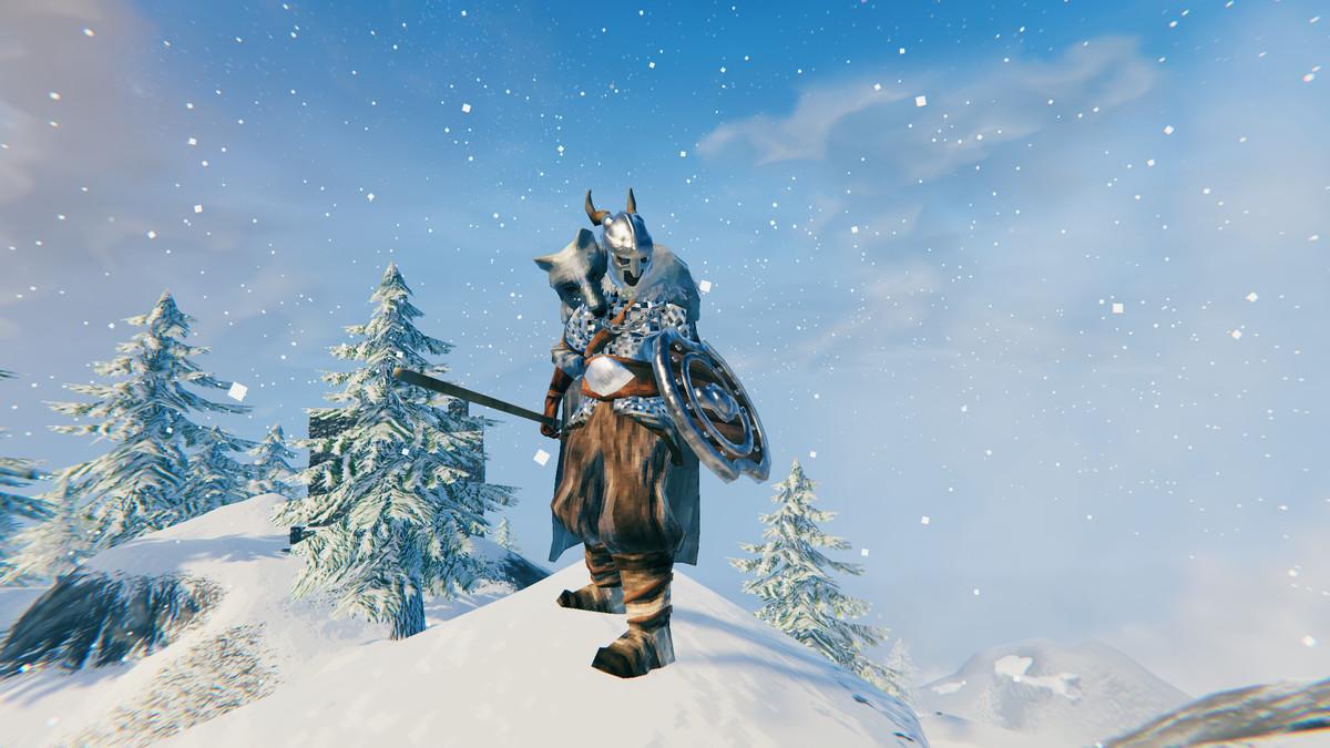 Valheim mountain biome silver wolf armor set
