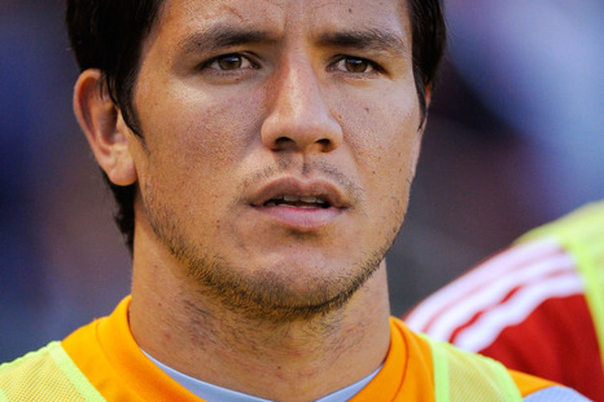 CARSON, CA - MAY 08:  Forward Brian Ching of Houston Dynamo on the bench prior to the start of the MLS soccer match against Chivas USA on May 8, 2010 at the Home Depot Center in Carson, California.  (Photo by Kevork Djansezian/Getty Images)
