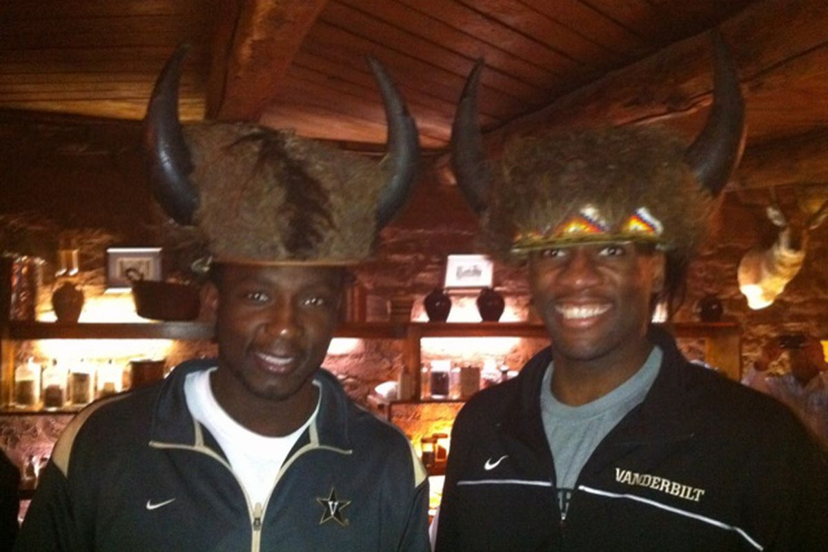 Note to Richmond fans: Festus Ezeli (right) and Steve Tchiengang (left) are easily recognizable by the Vanderbilt apparel they love to wear.