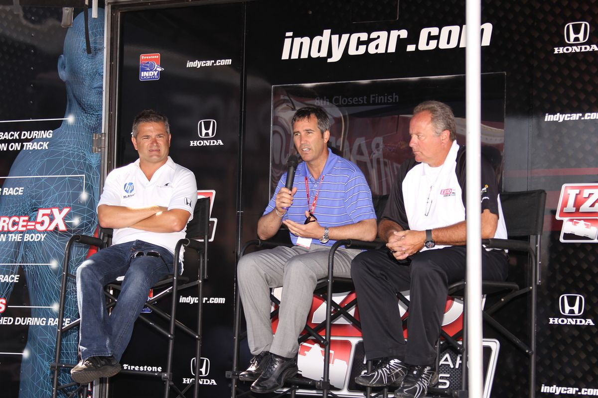 Randy Bernard (L) confirmed on Wednesday that Brian Barnhart (R) will no longer be in charge of INDYCAR Race Control in 2012. (Photo: IndyCar/Ron McQueeney)