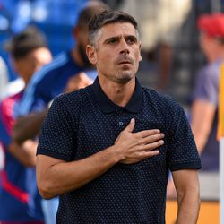 FC Dallas manager Luchi Gonzalez greets the fans prior to the match against New York City FC.