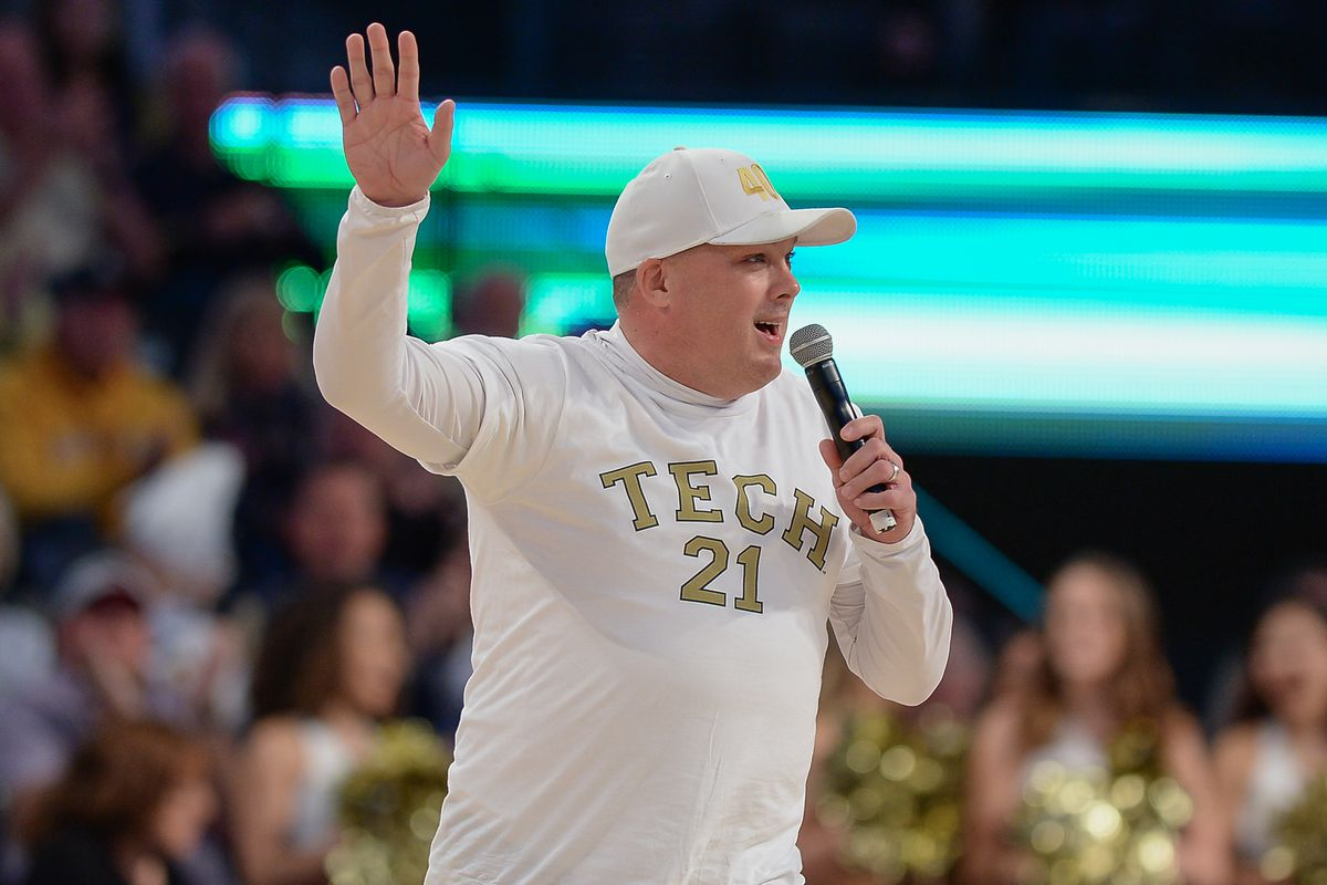 Georgia Tech head football coach Geoff Collins addresses the crowd during the NCAA basketball game between the North Carolina State Wolfpack and the Georgia Tech Yellow Jackets on January 25th, 2020 at McCamish Pavilion in Atlanta, GA.