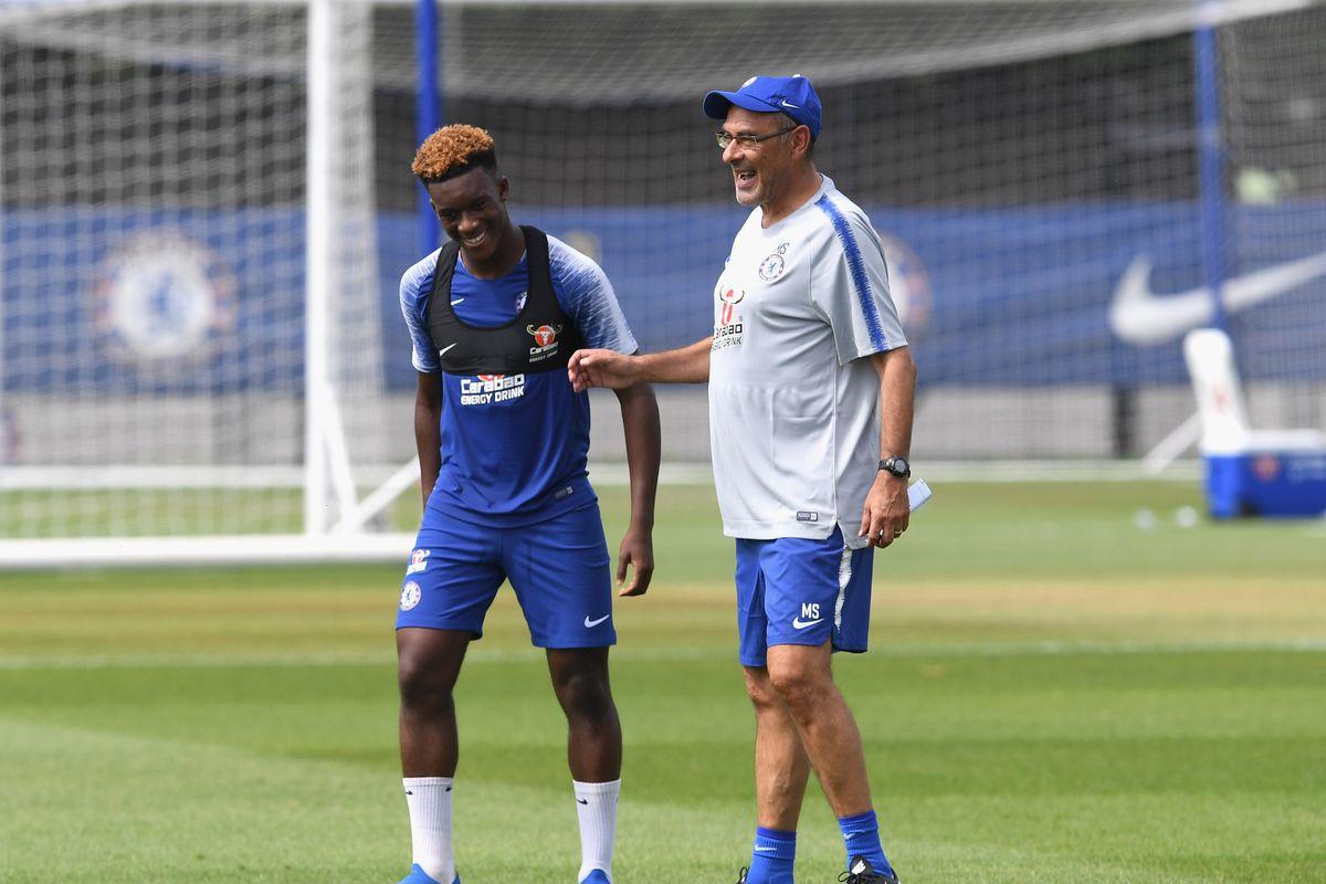 Chelsea Pre-Season Training Session COBHAM, ENGLAND - JULY 16: Callum Hudson-Odoi and Maurizio Sarri of Chelsea during a training session at Chelsea Training Ground on July 16, 2018 in Cobham, England.