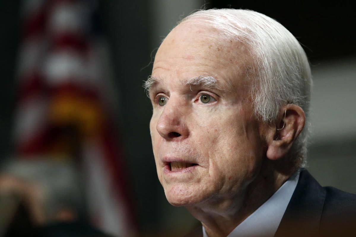 FILE - In this June 13, 2017, file photo, Senate Armed Services Committee Chairman Sen. John McCain, R-Ariz. speaks on Capitol Hill in Washington. McCain and Sen. Jack Reed, D- R.I., are asking Defense Secretary Jim Mattis to investigate reports that U.S.