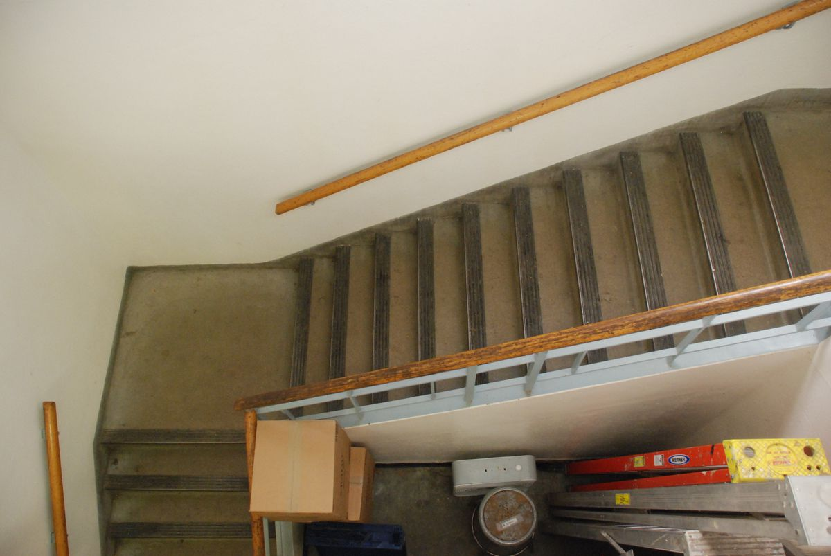 Students must carry their lunch trays up this staircase to eat in the Montclair gym because the cafeteria is so small. (Photo by Melanie Asmar)