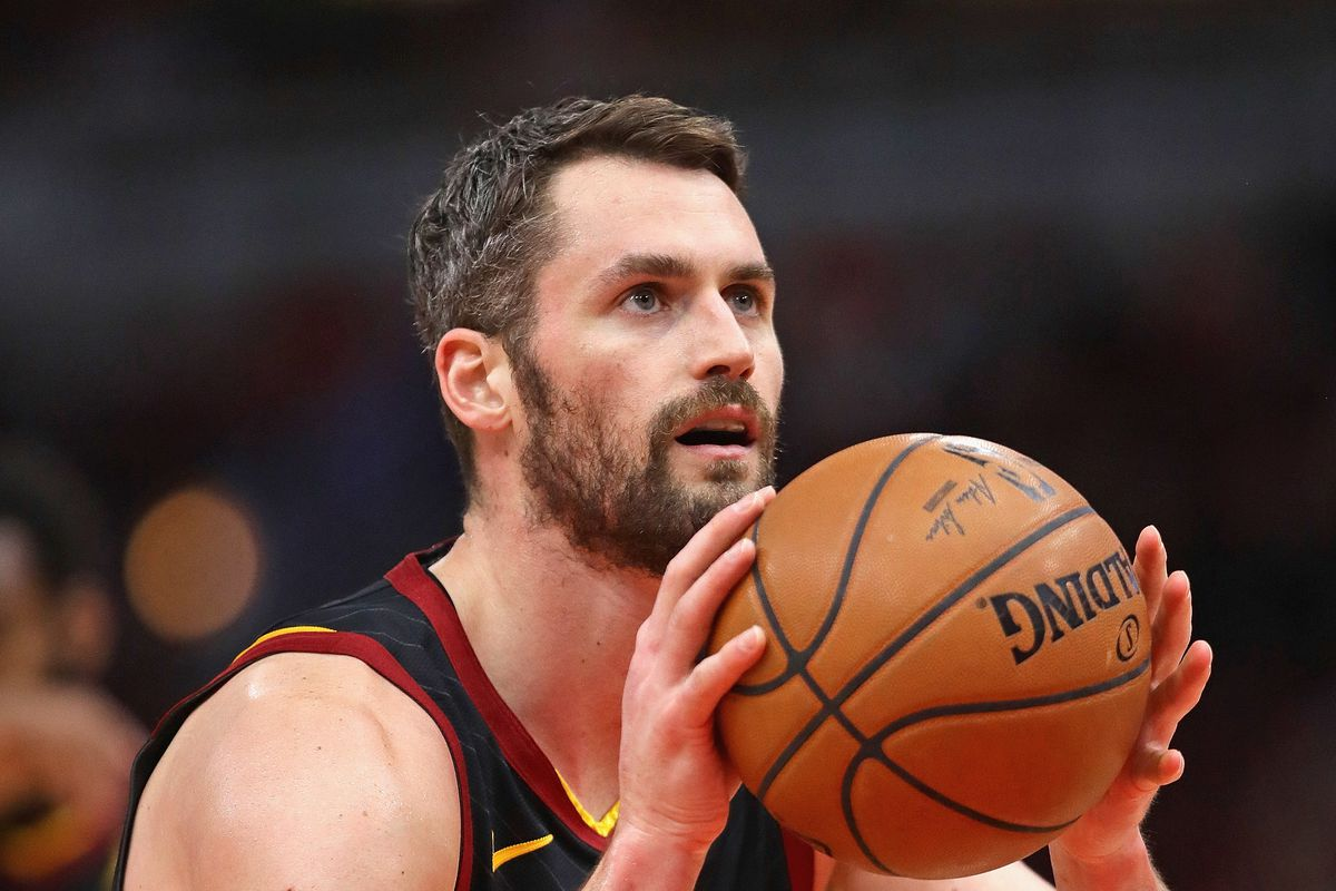 Kevin Love #0 of the Cleveland Cavaliers shoots a free throw against the Chicago Bulls at the United Center on March 10, 2020 in Chicago, Illinois.