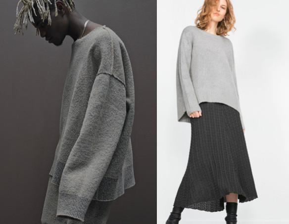 yzy grey sweaters zara