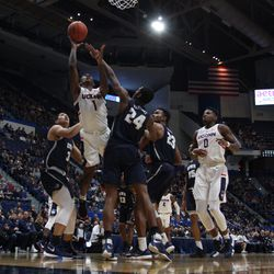 The New Hampshire Wildcats take on the UConn Huskies in a men's college basketball game at the XL Center in Hartford, CT on November 24, 2018.