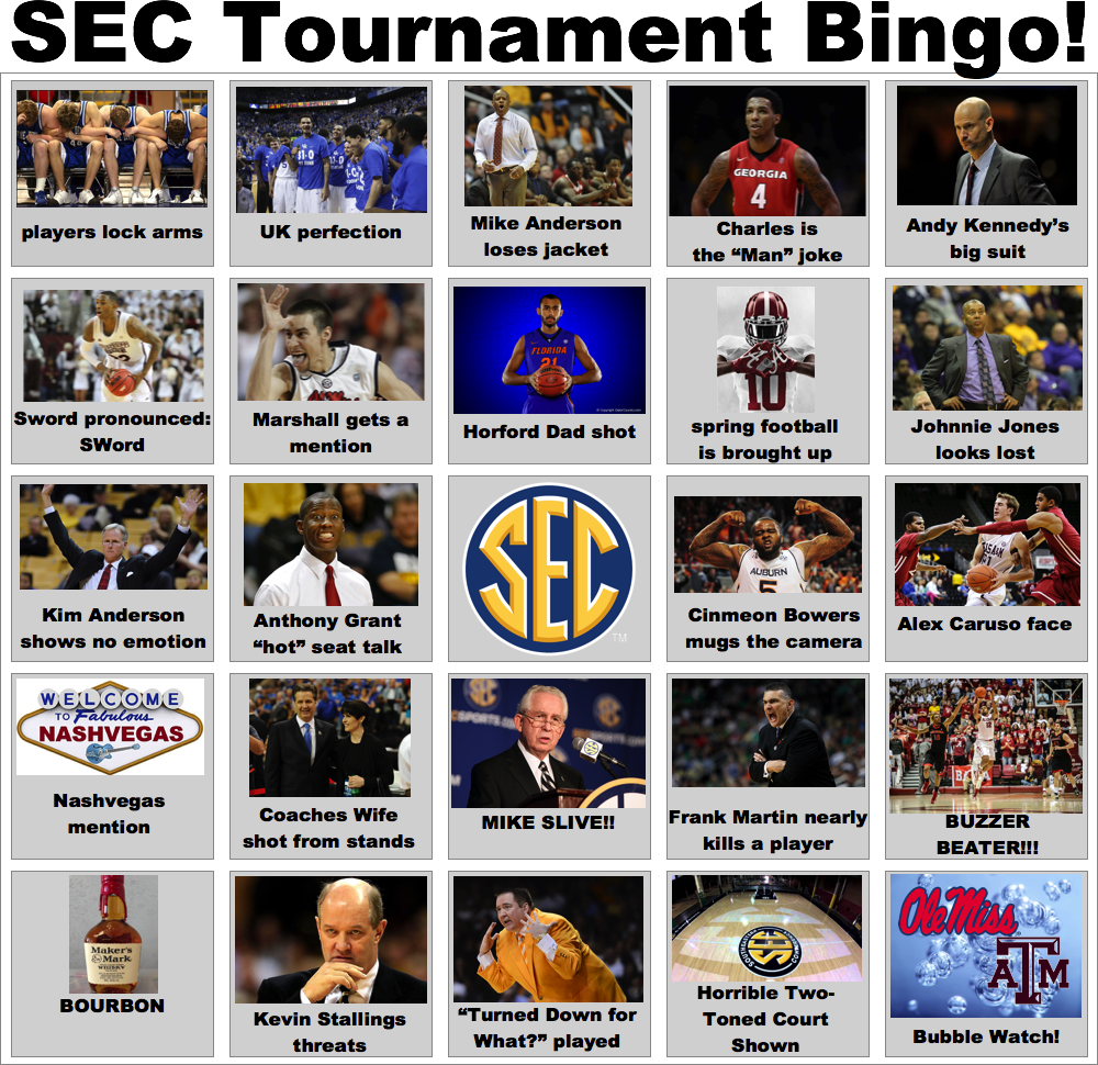 SEC Tournament Bingo