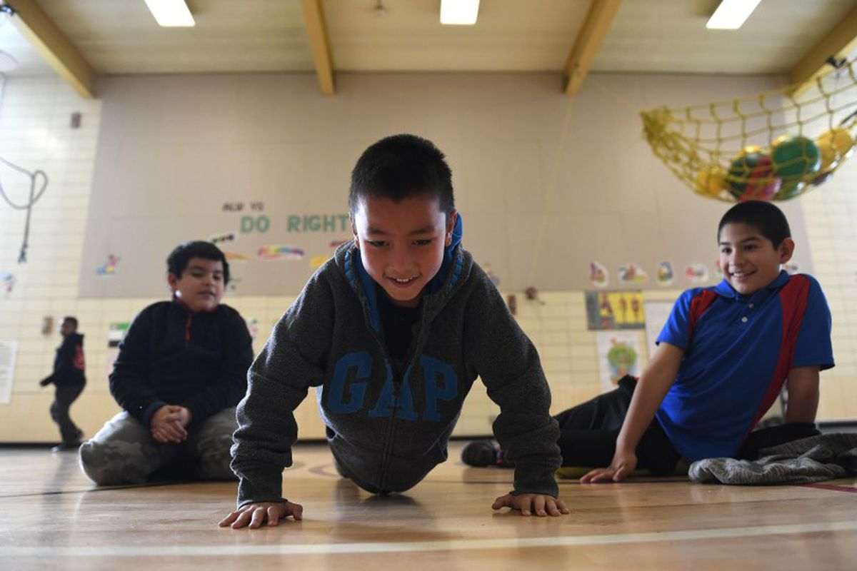 Students during PE class at Lyn Knoll Elementary School in 2016 in Aurora, Colorado.