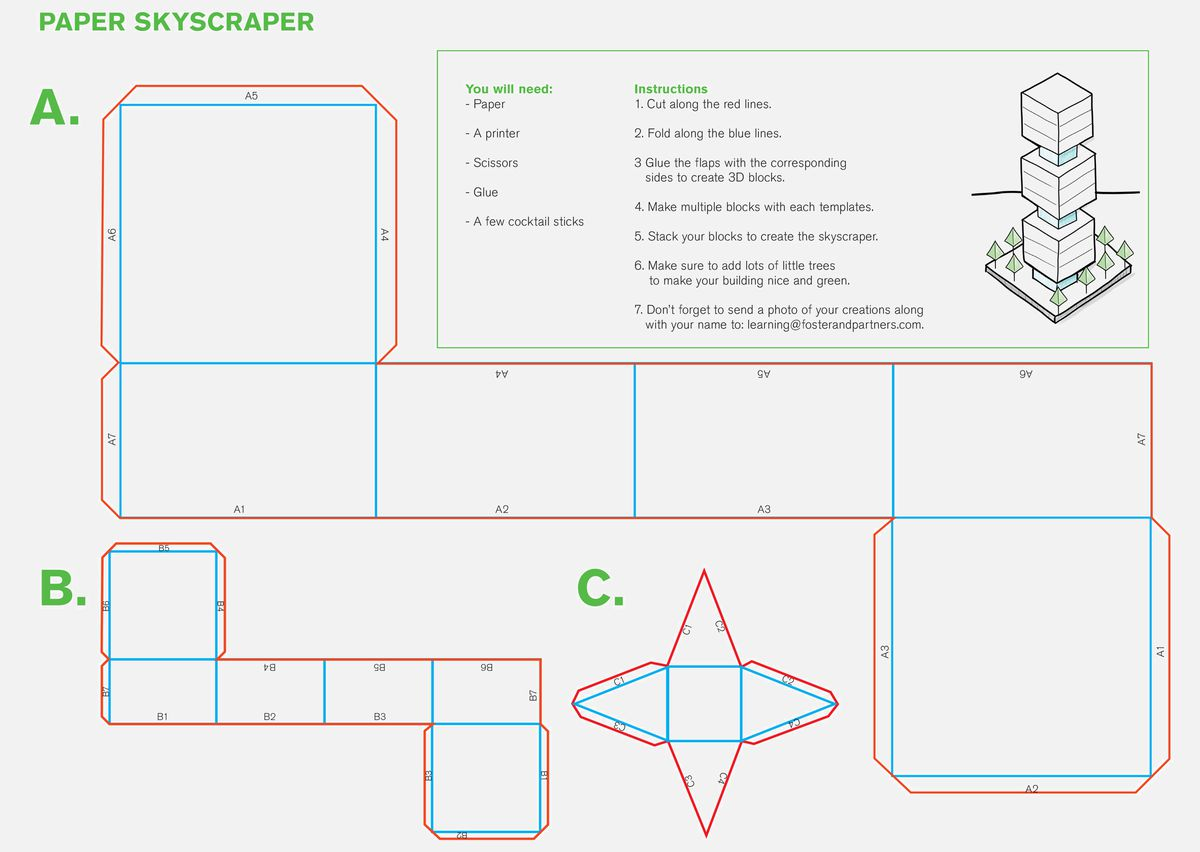 Worksheet showing paper skyscraper template.