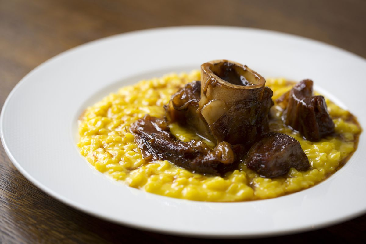 Risotto Milanese with osso bucco at Cafe Murano —one of chef Angela Hartnett, owner of Michelin-starred Murano's signature dishes