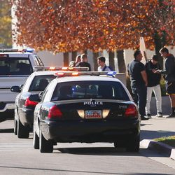 Police respond to Mountain View High School in Orem after five students were stabbed in an apparent attack by a 16-year-old boy on Tuesday, Nov. 15, 2016.
