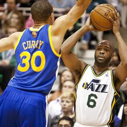 Jazz guard Jamaal Tinsley (6) looks for an open teammate during the first half of the NBA basketball game between the Utah Jazz and the Golden State Warriors at Energy Solutions Arena, Wednesday, Dec. 26, 2012.