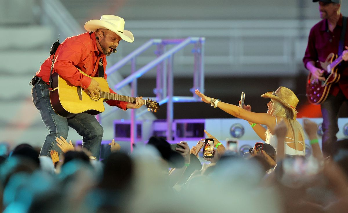 Country music superstar Garth Brooks performs at Rice Eccles Stadium at the University of Utah in Salt Lake City on Saturday, July 17, 2021.