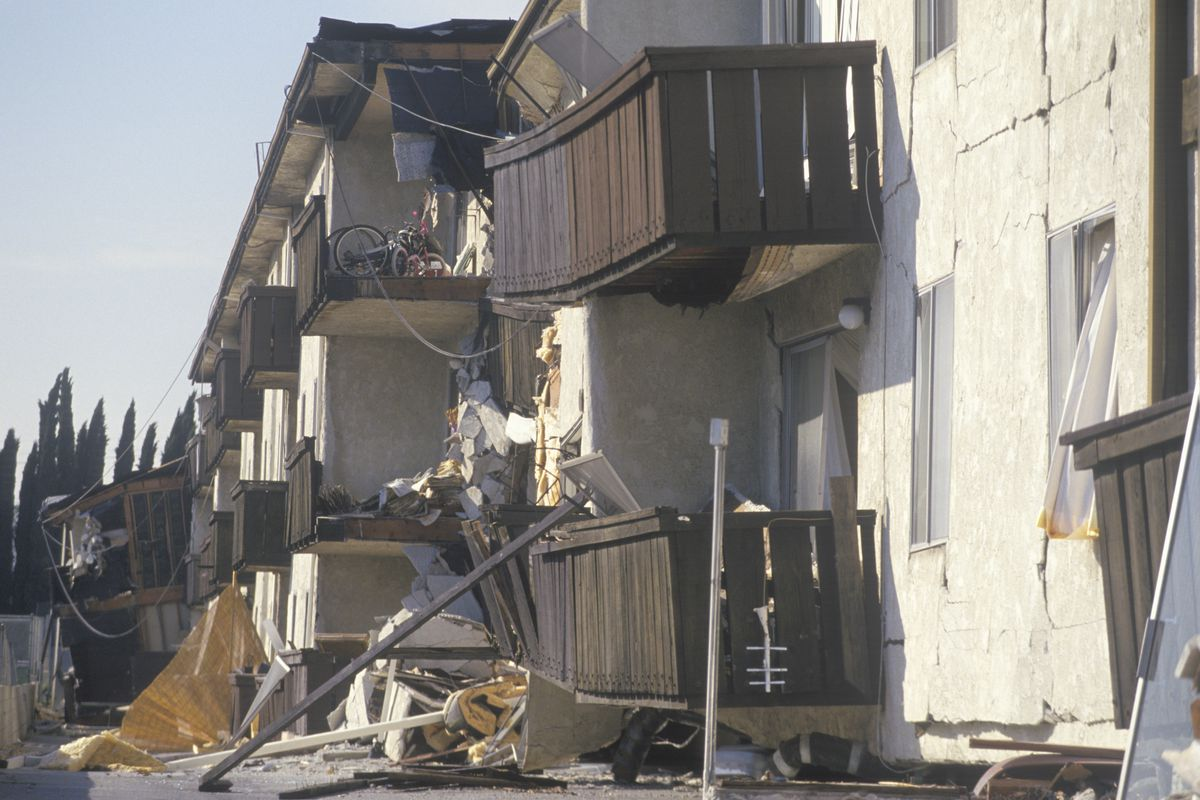 An Apartment Building Badly Damaged By The 1994 Northridge Earthquake Joseph Sohm Shutterstock