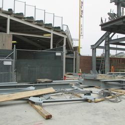 4:29 p.m. Video board structure parts laid out on Sheffield -