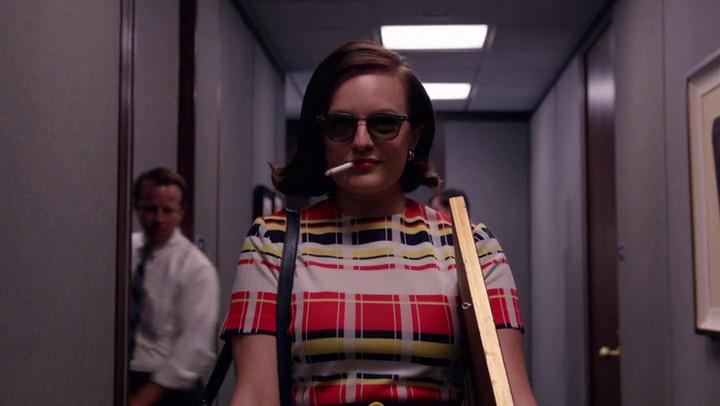 Peggy arrives for work at McCann on Mad Men.