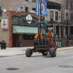 Forklift making the turn from Sheffield Avenue onto Waveland Avenue