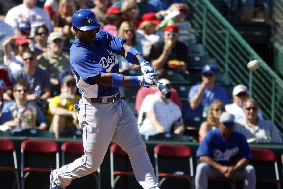 Yasiel Puig doubled to center field in Peoria on Saturday.
