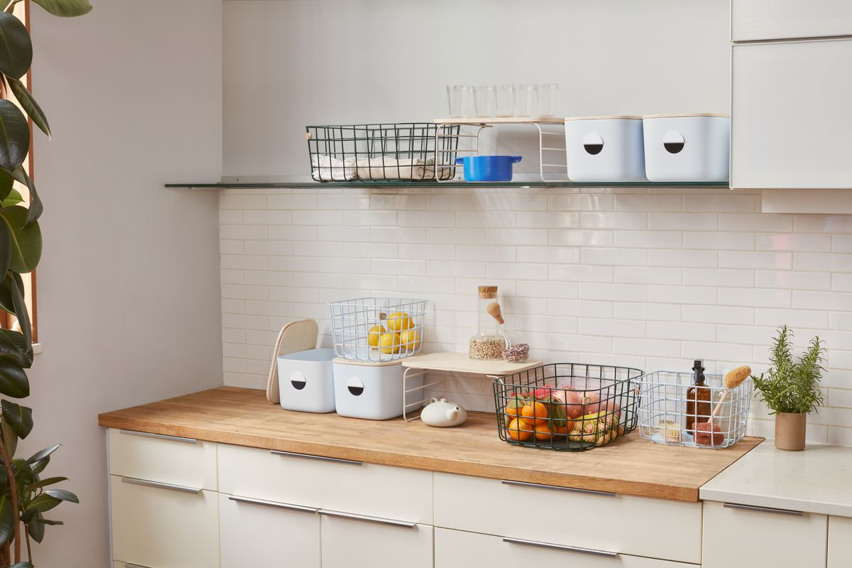 Storage containers on kitchen counters.